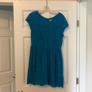 Price drop! Teal blue lace dress- Urban Outfitters